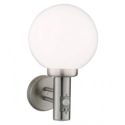 Knightsbridge 40W Halogen Stainless Steel Wall Globe with PIR Sensor