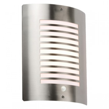 Knightsbridge 40W Slotted Stainless Steel Exterior Wall Light with PIR Sensor
