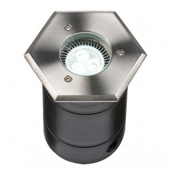 Knightsbridge 25W GU10 304 Stainless Steel Hexagonal Walkover/Driveover Groundlight