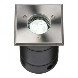 Knightsbridge 25W GU10 304 Stainless Steel Square Walkover/Driveover Groundlight
