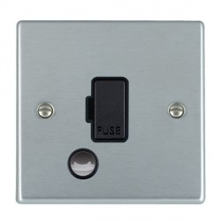 Hamilton Hartland Satin Chrome 1 Gang 13A Fuse + Cable Outlet with Black Insert