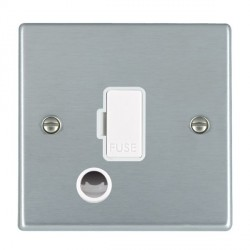 Hamilton Hartland Satin Chrome 1 Gang 13A Fuse + Cable Outlet with White Insert