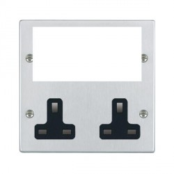 Hamilton Hartland Media Plates Satin Chrome Media Plate containing 2 Gang 13A Unswitched Socket + EURO4 aperture with Black Insert