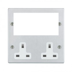 Hamilton Hartland Media Plates Satin Chrome Media Plate containing 2 Gang 13A Unswitched Socket + EURO4 aperture with White Insert