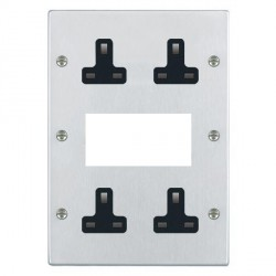 Hamilton Hartland Satin Chrome Media Plate containing 2 Gang 13A Unswitched Socket, 2 Gang 13A Unswitched Socket, EURO4 aperture with Black Insert