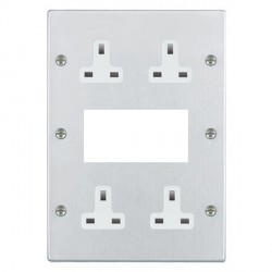 Hamilton Hartland Satin Chrome Media Plate containing 2 Gang 13A Unswitched Socket, 2 Gang 13A Unswitched Socket, EURO4 aperture with White Insert