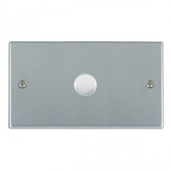 Hamilton Hartland Satin Chrome Push On/Off Dimmer 1 Gang 2 way 1000W with Satin Chrome Insert