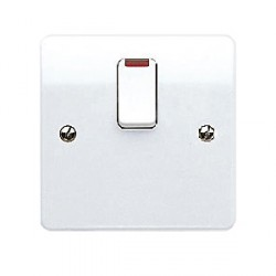 MK Electric Logic Plus™ White 20A 1 Gang Double Pole Switch with Flex Outlet and Neon