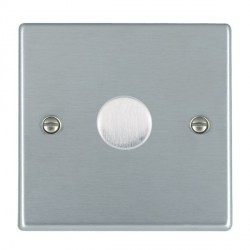 Hamilton Hartland Satin Chrome Push On/Off Dimmer 1 Gang Multi-way 250W/VA Trailing Edge with Satin Chrome Insert