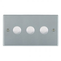 Hamilton Hartland Satin Chrome Push On/Off Dimmer 3 Gang 2 way 400W with Satin Chrome Insert