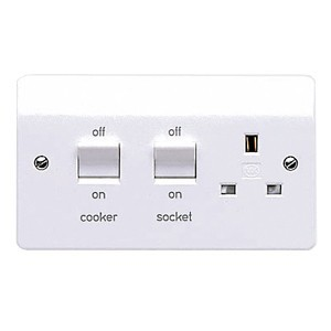 MK Electric Logic Plus™ White 13A Switched Socket and 45A Double Pole Switch