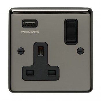 Eurolite Stainless Steel Black Nickel 1 Gang 13A Switched Socket with USB Charger, Black Rocker and Insert
