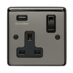 Eurolite Stainless Steel Black Nickel 1 Gang 13A Switched Socket with USB Charger, Matching Rocker, and Black Insert