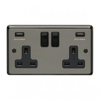 Eurolite Stainless Steel Black Nickel 2 Gang 13A Switched Socket with USB Charger, Black Rocker and Insert