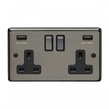 Eurolite Stainless Steel Black Nickel 2 Gang 13A Switched Socket with USB Charger, Matching Rocker, and Black Insert