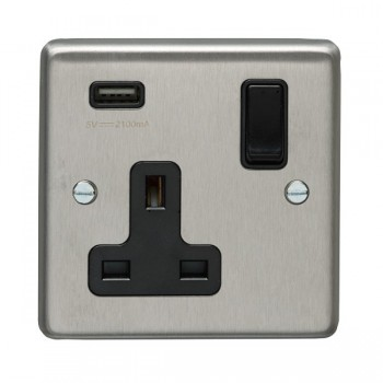 Eurolite Satin Stainless Steel 1 Gang 13A Switched Socket with USB Charger, Black Rocker and Insert