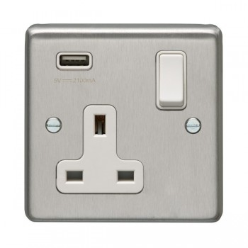 Eurolite Satin Stainless Steel 1 Gang 13A Switched Socket with USB Charger, White Rocker and Insert