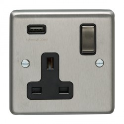 Eurolite Satin Stainless Steel 1 Gang 13A Switched Socket with USB Charger, Matching Rocker, and Black Insert