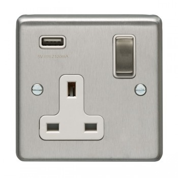 Eurolite Satin Stainless Steel 1 Gang 13A Switched Socket with USB Charger, Matching Rocker, and White Insert