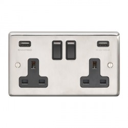 Eurolite Satin Stainless Steel 2 Gang 13A Switched Socket with USB Charger, Black Rocker and Insert