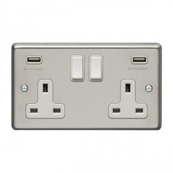 Eurolite Satin Stainless Steel 2 Gang 13A Switched Socket with USB Charger, White Rocker and Insert