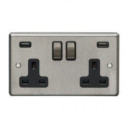 Eurolite Satin Stainless Steel 2 Gang 13A Switched Socket with USB Charger, Matching Rocker, and Black Insert