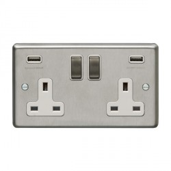 Eurolite Satin Stainless Steel 2 Gang 13A Switched Socket with USB Charger, Matching Rocker, and White Insert