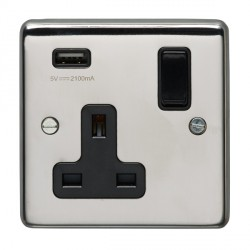 Eurolite Polished Stainless Steel 1 Gang 13A Switched Socket with USB Charger, Black Rocker and Insert