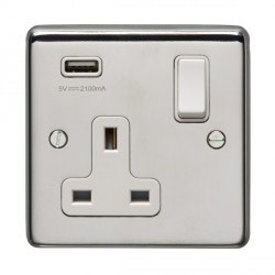 Eurolite Polished Stainless Steel 1 Gang 13A Switched Socket with USB Charger, White Rocker and Insert
