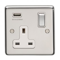 Eurolite Polished Stainless Steel 1 Gang 13A Switched Socket with USB Charger, Matching Rocker, and White Insert