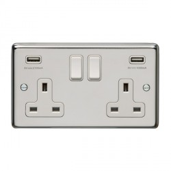 Eurolite Polished Stainless Steel 2 Gang 13A Switched Socket with USB Charger, White Rocker and Insert