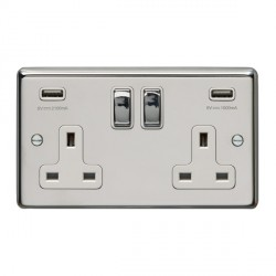 Eurolite Polished Stainless Steel 2 Gang 13A Switched Socket with USB Charger, Matching Rocker, and White Insert