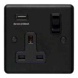Eurolite Stainless Steel Matt Black 1 Gang 13A Switched Socket with USB Charger, Black Rocker and Insert
