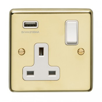 Eurolite Stainless Steel Polished Brass 1 Gang 13A Switched Socket with USB Charger, White Rocker and Insert