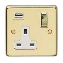 Eurolite Stainless Steel Polished Brass 1 Gang 13A Switched Socket with USB Charger, Matching Rocker, and White Insert