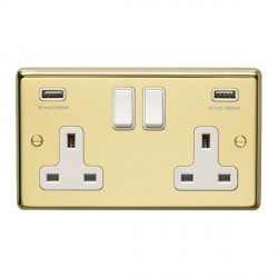 Eurolite Stainless Steel Polished Brass 2 Gang 13A Switched Socket with USB Charger, White Rocker and Insert