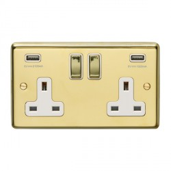 Eurolite Stainless Steel Polished Brass 2 Gang 13A Switched Socket with USB Charger, Matching Rocker, and White Insert