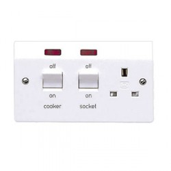 MK Electric Logic Plus™ White 13A Switched Socket and 45A Double Pole Switch with Neons