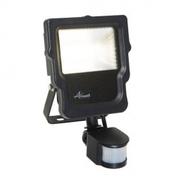 Ansell Calinor 10W 4000K Black LED Floodlight with PIR