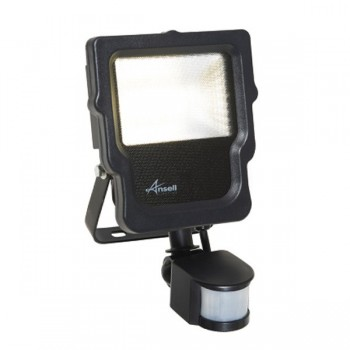 Ansell Calinor 10W 3000K Black LED Floodlight with PIR