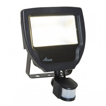Ansell Calinor 30W 4000K Black LED Floodlight with PIR