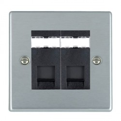 Hamilton Hartland Satin Chrome 2 Gang RJ12 Outlet Unshielded with Black Insert