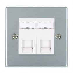 Hamilton Hartland Satin Chrome 2 Gang RJ45 Outlet Cat 5e Unshielded with White Insert