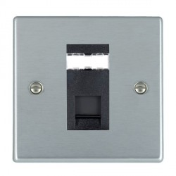 Hamilton Hartland Satin Chrome 1 Gang RJ45 Outlet Cat 5e Unshielded with Black Insert