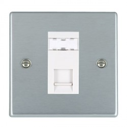 Hamilton Hartland Satin Chrome 1 Gang RJ45 Outlet Cat 5e Unshielded with White Insert