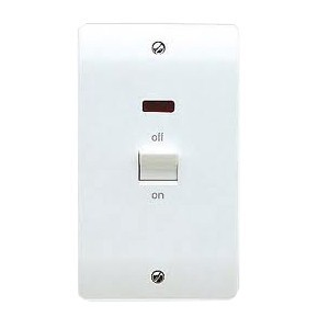 MK Electric Logic Plus™ White 50A 2 Gang Double Pole Switch with Neon