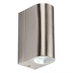 Knightsbridge 2x3W Curved Stainless Steel Up/Down LED Wall Light