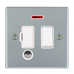 Hamilton Hartland Satin Chrome 1 Gang 13A Fused Spur, Double Pole + Neon + Cable Outlet with White Insert