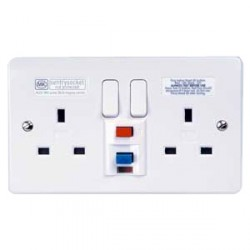 MK Electric Logic Plus™ White 13A 2 Gang Switched RCD Socket 30mA Active