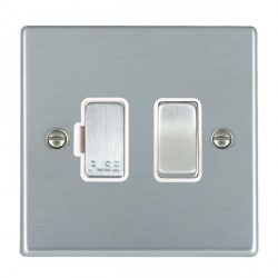 Hamilton Hartland Satin Chrome 1 Gang 13A Fused Spur, Double Pole with White Insert & Satin Chrome Switch